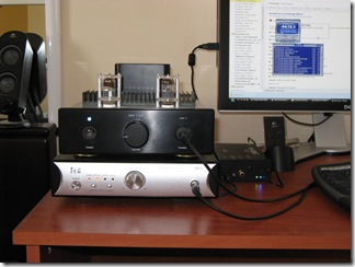 The entire setup: G&W T-2.6F with Mullard E88CC tubes on top of the upgraded Zhaolu D2.5 amp, next to a Musical Fidelity V-DAC